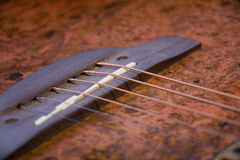 Guitar bridge with strings Stock Image