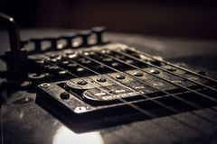 close up at guitar strings and bridge Stock Photography