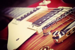 Guitar bridge in vintage effect Stock Photo
