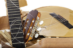 Guitar broken into bits and pieces Stock Image