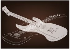 Guitar on a brown. Background. Drawing. 3d model Stock Photo