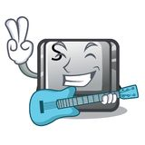 With guitar button S on a computer cartoon. Vector illustration stock illustration