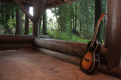 Music themed guitar in a cabin event Stock Photography