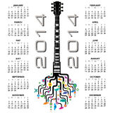 2014 guitar calendar. A creative design for 2014 calendar with a guitar for print or web use vector illustration