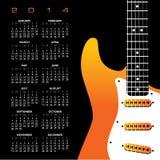 2014 Guitar Calendar. 2014 Creative Guitar Calendar for Print or Web stock illustration