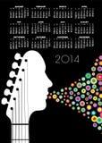 2014 Guitar Calendar. 2014 Creative Guitar Calendar for Print or Web vector illustration