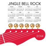 2014 guitar calendar. 2014 jungle bell rock calendar with guitar head, white background stock illustration