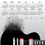 2014 guitar calendar. Monthly calendar for the year 2014 with a creative illustration of a guitar and musical notes Vector Illustration