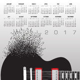 2017 Guitar Calendar With Notes Stock Photography
