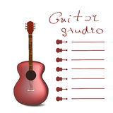 Guitar card vector. One of cards with guitar, music menu, guitar studio design stock illustration