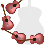 Guitar card vector. One of cards with guitar, music menu, guitar studio design vector illustration