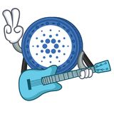 With guitar Cardano coin character cartoon. Vector illustration Royalty Free Stock Image