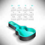 2018 Guitar case music calendar Stock Images