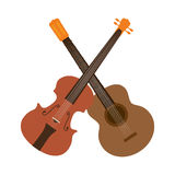 Guitar and chello instrument isolated icon Stock Photos