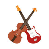 Guitar and chello instrument isolated icon Royalty Free Stock Photo