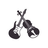 Guitar and chello instrument isolated icon Royalty Free Stock Photography