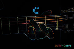 Guitar chord on a dark background. Stylized illustration of an X-ray. C chord stock illustration