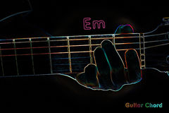 Guitar chord on a dark background. Stylized illustration of an X-ray. Em chord stock illustration