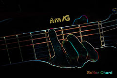 Guitar chord on a dark background. Stylized illustration of an X-ray. Am/G chord vector illustration