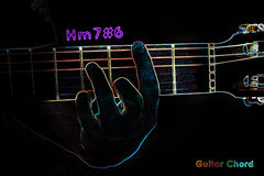 Guitar chord on a dark background. Stylized illustration of an X-ray. Hm7#6 chord royalty free illustration
