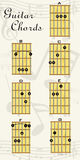 Guitar chords. Guitar chord chart showing position of each note on the fretboard Royalty Free Stock Photography