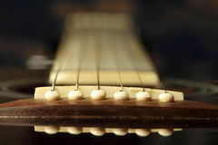 Guitar chords. Close up of chords of a acoustic guitar, selectively focused Royalty Free Stock Photo