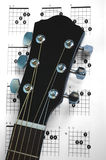 Guitar Chords. Acoustic guitar on a page of a chords chart Royalty Free Stock Photos