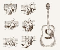 Guitar and chords Royalty Free Stock Photo