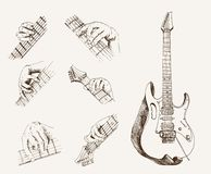 Guitar and chords. Set of vector sketches Royalty Free Stock Photo