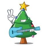 With guitar Christmas tree character cartoon. Vector illustration Stock Photos