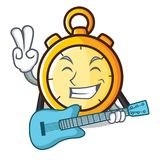 With guitar chronometer character cartoon style Royalty Free Stock Image