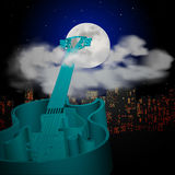 Guitar cityscape moon and clouds Royalty Free Stock Image