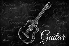 Guitar Classic Acoustic drawing on blackboard. Music wallpaper Stock Photo