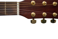 Guitar Closeup. Closeup of a acoustic guitar horizontal on a white background Royalty Free Stock Photography