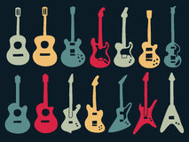 Guitar colorful icons in variety style. Guitar drawing with colorful icons in variety style including acoustic, classic and electric type Stock Image