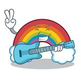 With guitar colorful rainbow character cartoon Royalty Free Stock Photo