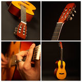 Guitar Comp. Music comp - Acoustic guitar over black background Royalty Free Stock Photo