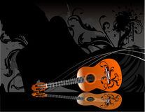 Guitar  composition. Classic guitar abstract music  composition Stock Photos