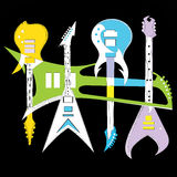 Guitar. Composition of five colored guitars Royalty Free Stock Photo