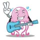 With guitar cute jellyfish character cartoon. Vector illustration Stock Images