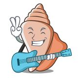 With guitar cute shell character cartoon Royalty Free Stock Photography