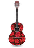 Guitar Decorated With Ornament Of Red Roses Flowers, Decorative Design.