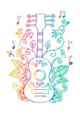 Guitar with decorative ornament. Royalty Free Stock Images