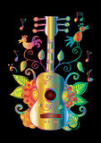 Guitar with decorative ornament. Royalty Free Stock Photo