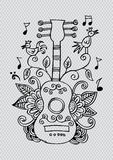 Guitar. Decorative style. Royalty Free Stock Image