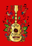 Guitar with decorative style. Stock Photo
