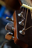 Guitar detail, headstock with tuning pegs. Close up shot Royalty Free Stock Photos