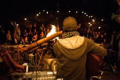 Live music show by the fire royalty free stock image