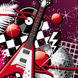 Guitar And Disco Ball. Background With Guitar And Disco Ball Stock Photos