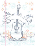 Guitar Doodle. Hand drawn guitar and designs on lined paper. All elements on separate layers, easily edited Stock Photography